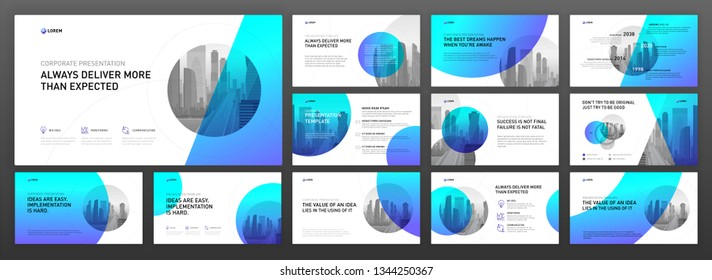 Powerpoint presentation templates set. Use for keynote template background, brochure design, website slider, landing page, annual report, company profile.