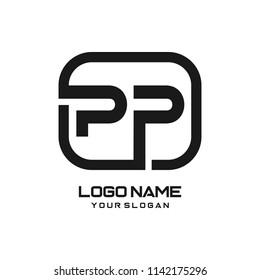 PP initial box letter logo template vector