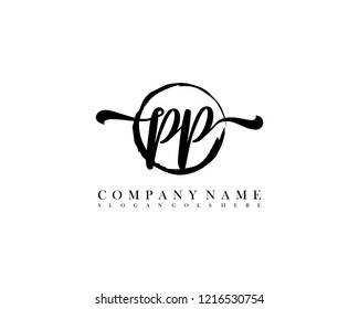 PP initial handwriting logo circle template vector