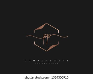 PP initial handwriting logo template vector