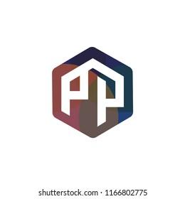 PP Initial letter hexagonal logo vector