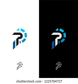 PP Initials Letter Techno Logo Vector Template