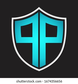 PP Logo monogram with shield shape isolated blue colors on outline design template
