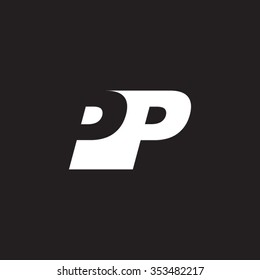 PP negative space letter logo black background