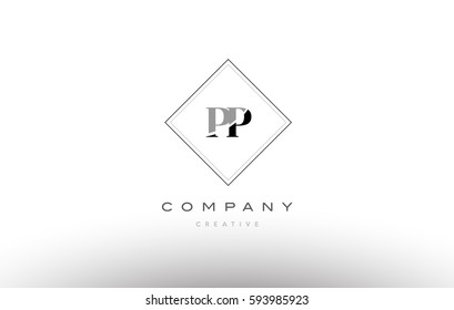 pp p  retro vintage black white alphabet company letter logo line design vector icon template