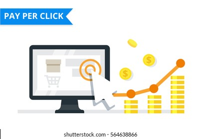 PPC advertising and conversion concept. Internet marketing flat vector illustration.