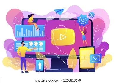 PPC advertising managers work with websites. PPC campaign, pay-per-click model, internet marketing tools, search engine advertising concept. Bright vibrant violet vector isolated illustration