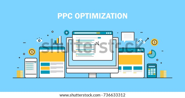 PPC campaign, Paid advertising, Search marketing flat vector line illustration
