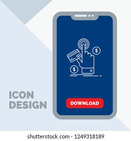 ppc, Click, pay, payment, web Line Icon in Mobile for Download Page
