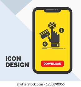 ppc, Click, pay, payment, web Glyph Icon in Mobile for Download Page. Yellow Background