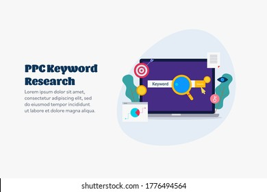PPC keywords, Keyword Research, PPC advertising, Keyword selection for marketing - conceptual vector illustration with icons on isolated background