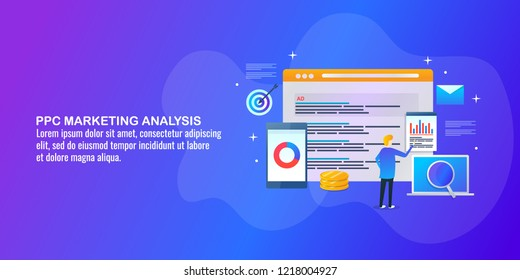 PPC marketing, PPC analysis, pay per click banner vector with icons and texts