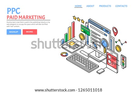 PPC Paid Marketing Campaign Pay Per Stock Vector (Royalty