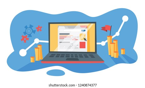 PPC pay per click advertising in the internet. Marketing strategy for business promotion. Pay for banner on the web page. Flat vector illustration