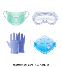 PPE icon set. Corona virus Covid 19 protect equipment. Respirator surgical mask, glasses, gloves Coronavirus prevention, medical elements collection. Vector illustration isolated on white background