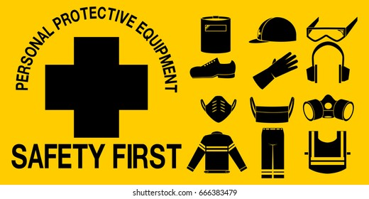 PPE icon set on yellow background