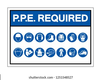 PPE Required Symbol Sign ,Vector Illustration, Isolate On White Background Label. EPS10
