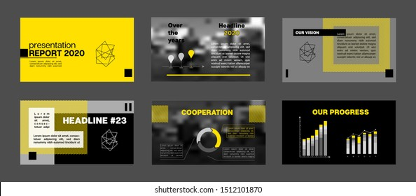 PPT Corporate Identity, Infographic Elements. Tech Horizontal Cover Collection. Yellow Presentation Slide Set. Minimal Vector Advertising Banner Portfolio Template. Cool Flyer, Cover Design.