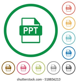 PPT file format flat color icons in round outlines