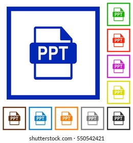 PPT file format flat color icons in square frames on white background