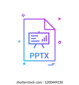 pptx file extension file format icon vector design