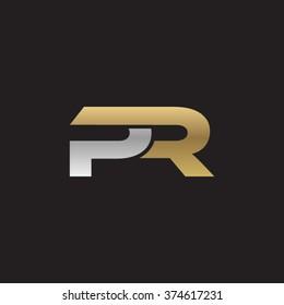 PR company linked letter logo golden silver black background