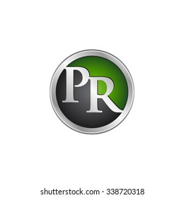 PR initial circle logo green