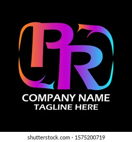 PR Initial Letter Logo Design With Orange Purple and Blue Colors Isolated in Black Background