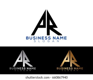 Pr initial letters linked triangle shape logo
