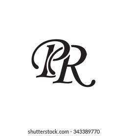 PR initial monogram logo