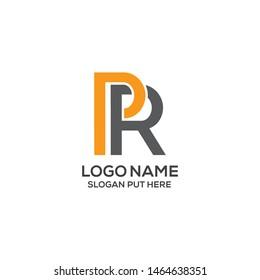 PR  Letter logo design template