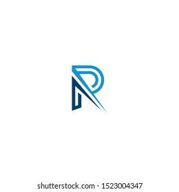 PR letter logo negative space vector, eps 10