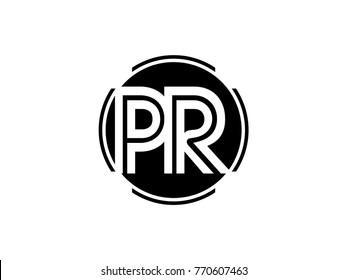 PR letter logo round black