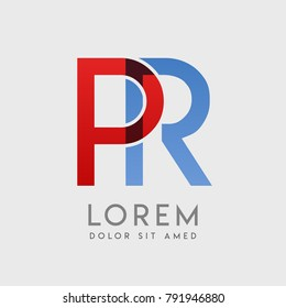"""PR logo letters with """"blue and red"""" gradation"""