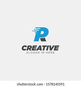PR logo. Public relations emblem. Blue and pink origami letters on dark background.