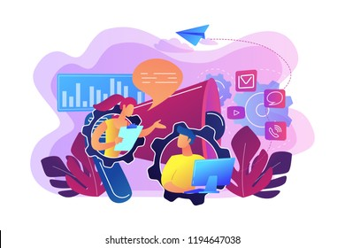Pr managers communicate and huge megaphone. Public relations and affairs, communication, pr agency and jobs concept on white background. Bright vibrant violet vector isolated illustration