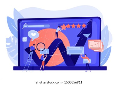 PR managers, Internet marketers coworking. Online reputation management, product and service search results, digital space representation concept. Bright vibrant violet vector isolated illustration