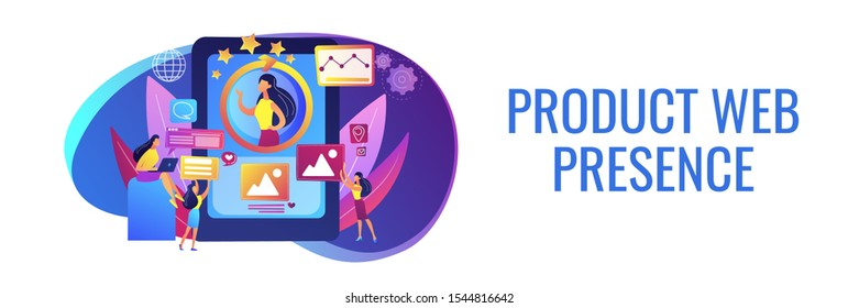 PR managers team working, personal development. Online identity management, digital Identity management, product web presence concept. Header or footer banner template with copy space.