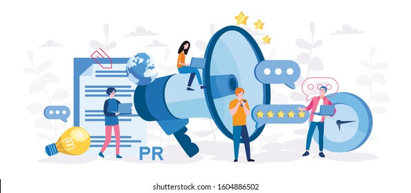 PR, Marketing campaign, Public relations. announcements through mass media to advertise your business. Vector illustration for web banner, mobile. Management and marketing strategy