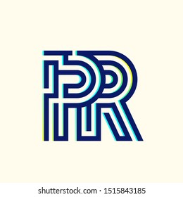 PR monogram.Typographic logo with letter p and letter r overlapped.Holographic style.Lettering icon.Alphabet initials.Characters sign in neon colors.Geometric lines.Labyrinth, maze shape.