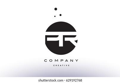 PR P R alphabet company letter logo design vector icon template simple black white circle dot dots creative abstract
