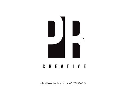 PR P R White Letter Logo Design with Black Square Vector Illustration Template.