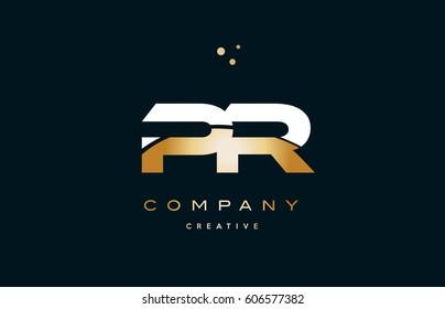 pr p r  white yellow gold golden metal metallic luxury alphabet company letter logo design vector icon template