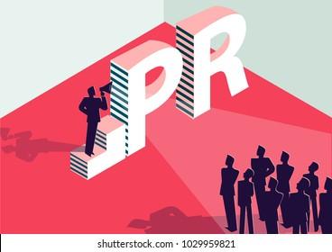 PR or public relation isometric 3D business concept