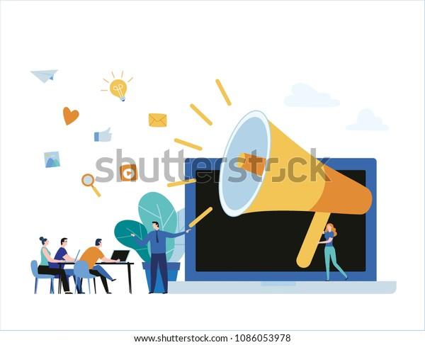 Cursos De Formación En Línea Sobre Relaciones Públicas Concepto De Banner De Ilustración De Vector De