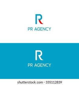 PR public relations blue logo design agency