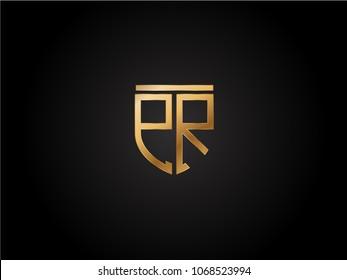 PR shield shape Letter Design in gold color