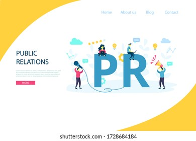 PR. Vector public relations concept. Marketing strategy for web site, landing page, banner, mobile app