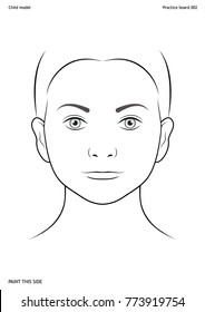 Practice board for face painting. Child face. Size A4. Vector template.