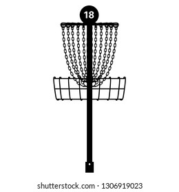 Practice Disc Golf Basket Pin Hole 18 Vector Illustration Icon Symbol